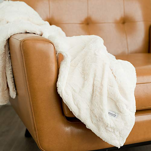 (GRACED SOFT LUXURIES Softest Warm Elegant Cozy Faux Fur Home Throw Blanket (Solid Ivory, Extra Large 60
