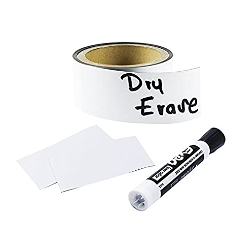 Houseables Magnetic Roll, Dry Erase Magnet Strip, Glossy White, 2 Inch Wide x 10 Ft Long, Write On, Wipe Off, Magnetically Receptive Whiteboard Sheet, Board Magnets, For Shelf, (Cabinet For Sheet Music)