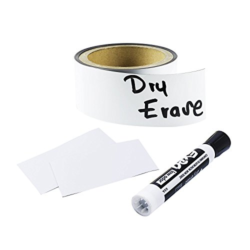 Houseables Dry Erase Labels, Magnetic Roll, Magnet Strip, Glossy White, 2 Inch Wide x 10 Ft Long, Write On Labels, Wipe Off, Magnetically Receptive Whiteboard Sheet, Business Filing Cabinet Magnets
