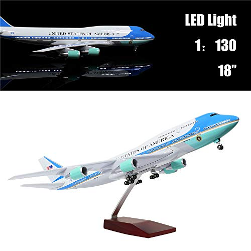 "- 24-Hours 18"" 1:130 Scale Model Jet United States Air Force One B747 Planes Model Kits Display Diecast Airplane for Adults with LED Light(Touch or Sound Control)"