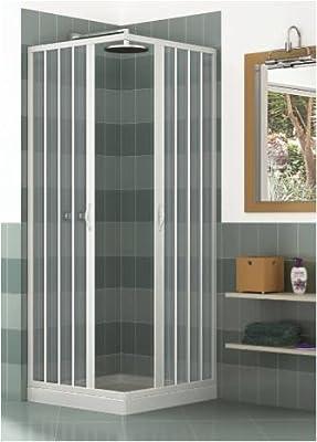 Mampara ducha en PVC con apertura angular con dos puertas plegables - 2 lados - 70 x 100 cm, H 185 cm - Blanco: Amazon.es: Hogar