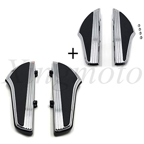 Price comparison product image NBX- (216-119 / 120) Chrome Replacement of Defiance Driver Passenger Footboard For Compatible with Harley 12-16 Dyna / 00-19 Touring Shark Fin