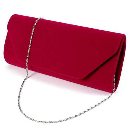 The Pecan Man Red Clutch Bag Ladies Velvet Wedding Evening Handbag - Polo Outlets Jackson