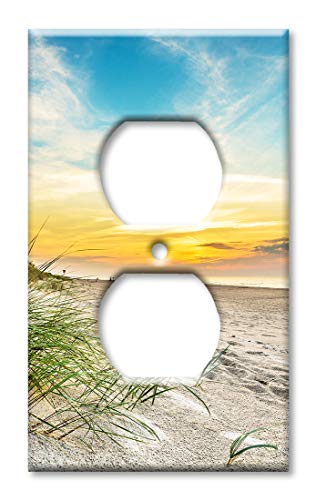 Art Plates Duplex Outlet Cover Wall Plate - Grass and the Beach Sand