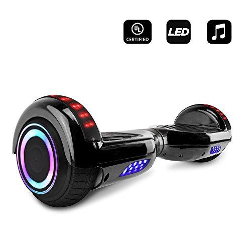 CHO Electric Smart Self Balancing Scooter Hoverboard Built-in Speaker LED Wheels Side Lights- UL2272 Certified (Black)