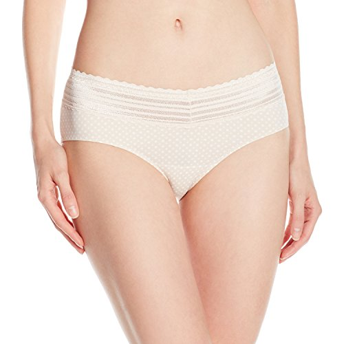 (Warner's Women's No Pinches Lace Hipster Panty, Banyan with Dot Print,)
