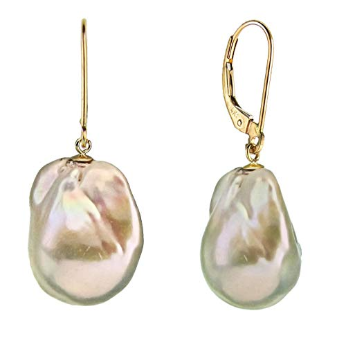 White Baroque Cultured Freshwater Pearl Dangle Fancy Earrings for Women 15-17mm in 14k Yellow Gold