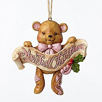 Enesco 4053851 First Christmas Pink Bear Ornament, Multicolor ()