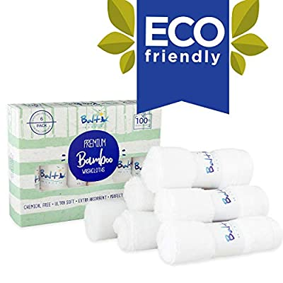 Baby Washcloths - Hypoallergenic Organic Bamboo Towel, Ultra Soft and Absorbent, Natural Reusable Wipes Perfect for Sensitive Skin and Newborn Bath, Ideal Baby Registry and Baby Shower Gift.