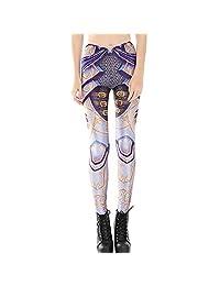 JOYHY Women's Elastic Waist Stretchy Printed Leggings Pants Footless Tights