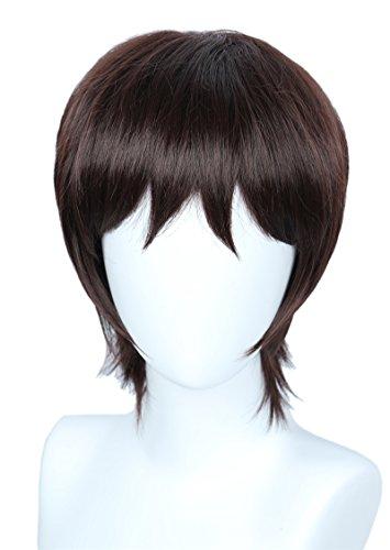 Linfairy Unisex Short Straight Dark Brown Cosplay Wig Halloween Costume Full Wig for Men