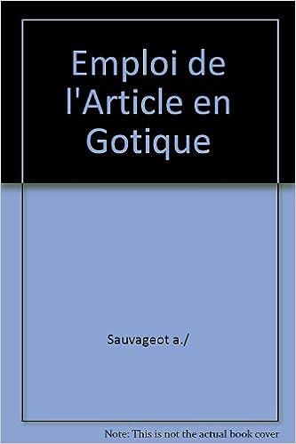 Livres gratuits Emploi de l'article en gotique pdf