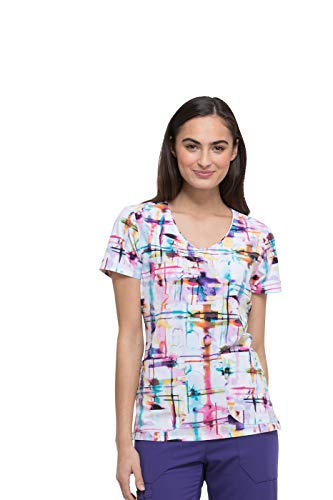 (Dickies Fashion Prints by Women's V-Neck Plaid We Made It Print Scrub Top)