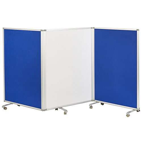 ECR4Kids Mobile Dry-Erase Room Divider & Partition, Double-Sided, Whiteboard & Flannel, 3-Panel