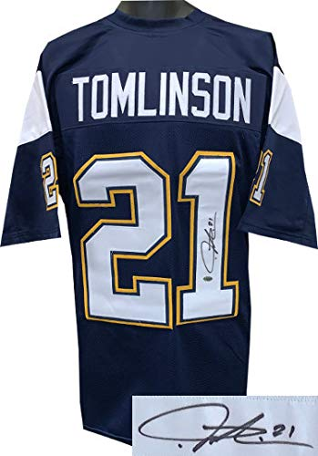 Ladainian Tomlinson Autographed Signed Memorabilia Navy Custom Stitched Pro Style Football Jersey #21 XL - Leaf Authentics Hologram - Certified Authentic