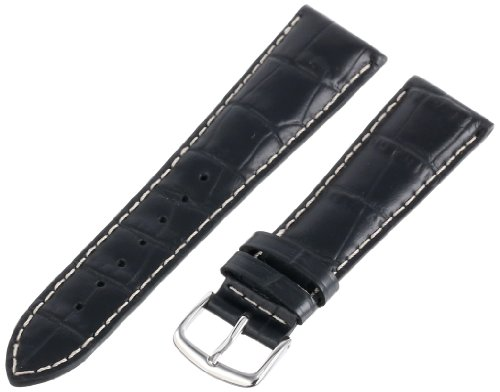 22 Mm Italian - Hadley-Roma Men's MSM834RA-220 22-mm Black Genuine Italian Calfskin Leather WatchStrap