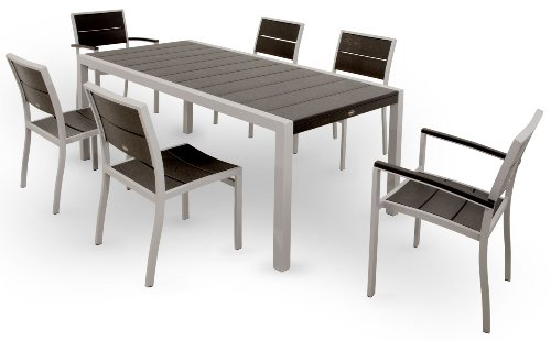 Trex Outdoor Furniture TXS123-1-11CB Surf City 7-Piece Dining Set, Textured Silver/Charcoal Black For Sale