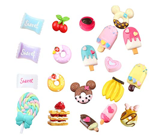- Mlambor 20 pcs 3D Slime Charm Slices Resin Flatback Dessert Beads Button Cake Ice Cream Sweets Donut Cherry Banana Chocolate Lollipop for DIY Scrapbooking Embellishment, Phonecase, Hair Clip, Jewelry