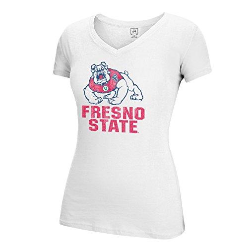 J America NCAA Fresno State Bulldogs Women's Large Mascot Essential Tee, White, (Mascot Dog Clothes)