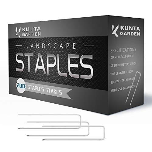 KUNTA GARDEN Stakes 200 Pack Galvanized Landscape Staples 6 Inch, 11 Gauge, Sturdy Rust Resistant Gardening Supplies for Outdoor Landscape Install Artificial Grass, Securing Ground Cover, Dog Fence