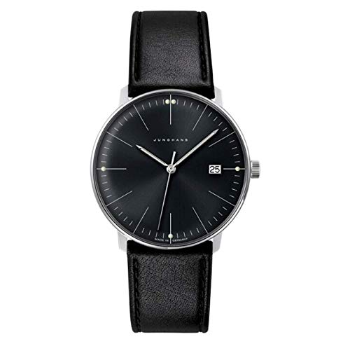 Junghans Men's Max Bill Stainless Steel Quartz Watch with Leather Calfskin Strap, Black, 20 (Model: 041/4465.00) (Max Bill Watch)