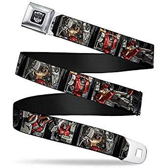 Buckle-Down Seatbelt Belt - Dinobots Action Pose Panels/Autobot Logo Black/Silver Gradient - 1.5