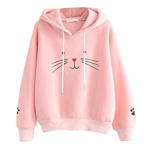 - Tsmile Women Cat Print Sweatshirt Hooded Long Sleeve Round Neck Drawstring Cute Oversized Fit Pullover Blouse Coat