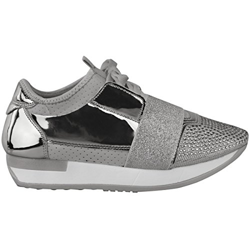 Fashion Thirsty Womens Diamante Sneakers Bali Runners Lace Up Sports New Size Silver Metallic CwAWy