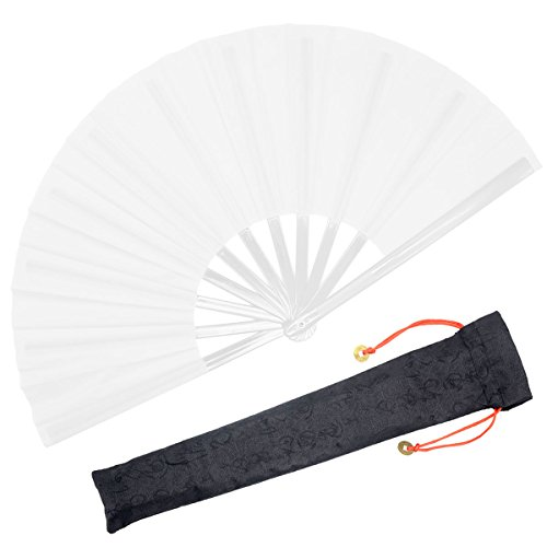 OMyTea Chinese Kung Fu Tai Chi Large Hand Folding Fan for Men/Women - With a Fabric Case for Protection - For Performance/Dance / Fighting/Gift (White)