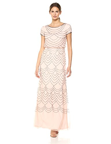 Adrianna Papell Womens Short Sleeve Blouson Beaded Gown