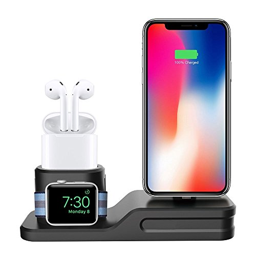 X Series Watch - iWatch Charging Stand [Support Night Stand Mode] WERO 3 in 1 Hub Charger Dock Station Applicable for Apple AirPods, Apple Watch Series 3, 2, 1 and iPhone X, 8/8 Plus, 7/7 Plus (Scratch-Free Silicone)