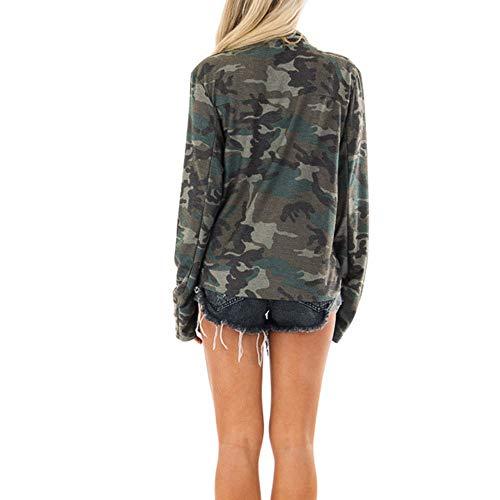 Rue Manteau Femmes Automne Veste Cardigan Hiver Casual Armée Elecenty Camouflage Vestes Verte q70SUU