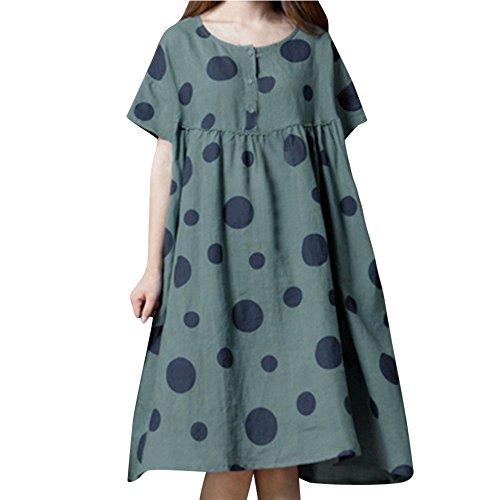 Xinantime Women's Plus Size Loose Dress Vintage Casual Linen Dresses O-Neck Polka Dot Print Long Dress Blue