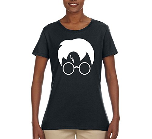 Harry Potter Glasses Lightning Bolt Scar Hair | Womens Pop Culture Tee Graphic T-Shirt, Black, - Harry In Styles Glasses