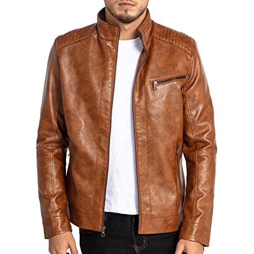 Jackets & Coats Spring Mens Casual Leather Jacket Slim Stand Collar Mens Locomotive Stitching Leather Coat Casual Autumn Overcoat Masculino Yet Not Vulgar Jackets