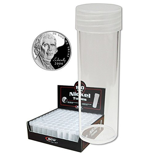 (100) BCW Brand Round Clear Plastic (Nickel) Size Coin Storage Tube Holders with Screw on Lid