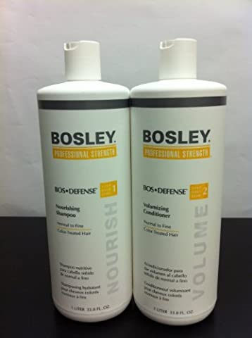 Bosley Defense Nourishing Shampoo and Volumizing Conditioner Duo Set for Color Treated Hair (Bosley Hair Conditioner)
