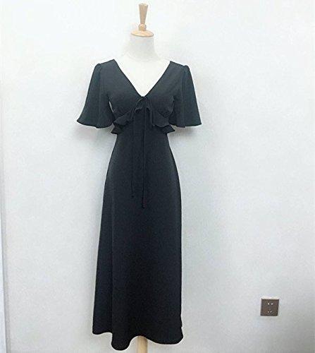 Robe Spot Femme Jupe de Jupe Longue Jupe la au Robe Plage Black V Une MiGMV Vacances t de Bord S pq0wSHSA