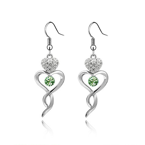 Ablaze Jin Fashion Jewelry Crystal Earrings Elegant Knot Long Paragraph High End Diamond Earrings,Olive