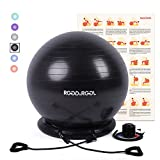RGGD&RGGL Yoga Ball Chair, Exercise Balance Ball Chair 65cm with Inflatable Stability Ring, 2 Resistant Bands and Pump for Core Strength and Endurance