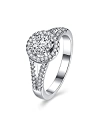 YAZILIND Delicate Jewelry 925 Sterling Silver Ring with CZ Cubic Zirconia Wedding Engagement Gift for Women Girls