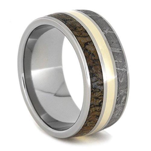 14k Yellow Gold, Dinosaur Bone, Gibeon Meteorite 11mm Comfort-Fit Titanium Band, Size 4 by The Men's Jewelry Store (Unisex Jewelry)