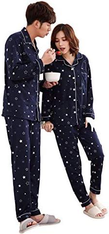 (ジュタオピン) 夫婦 ペアパジャマ 秋 冬 前開き 紺 寝巻き 人気 両親 パジャマペア 綿 結婚祝い プレゼント ペア パジャマ パジャマレディース 可愛い 大きいサイズ