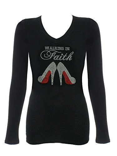 Women's Walking in Faith Rhinestone Bling V-Neck T-Shirts Black ()