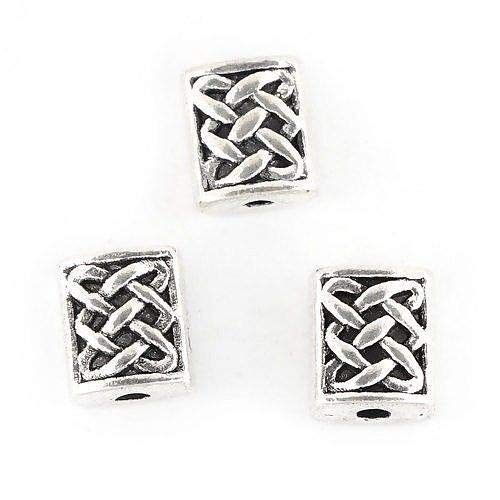 Knot Spacer - 50 Tibetan Antiqued Silver 7x6mm Rectangle Drilled Celtic Knot Spacer Beads