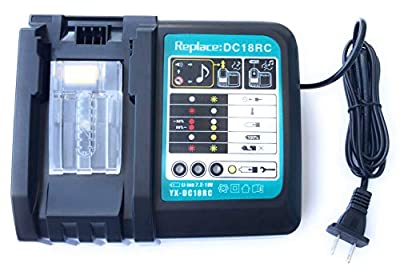 UNGINO Replacement DC18RC DC18RA Rapid Power Tools Lithium-Ion Drill Battery Charger for Makita 14.4V-18V BL1415 BL1420 BL1425 BL1430 BL1430A BL1440 BL1445 BL1450 BL1460 BL1475 BL1490 BL1815 BL1815N