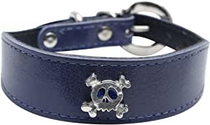 Dogit Leather Small Dog Wide Collar with Buckle and Pewter Skull Charm, 1-1/8-Inch, Blue