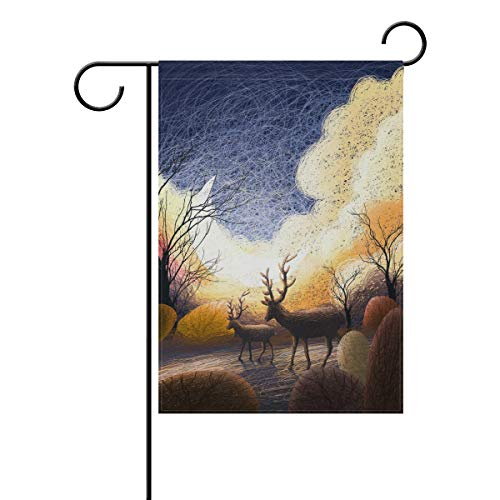 Chic Houses Deer Fairy Tale Forest Outdoor Garden Flags Cloud Branch Fantasy Hand Painted Alternative Vertical Double Sided Home Decorative House Yard Sign 12 x 18 Inch 2030829