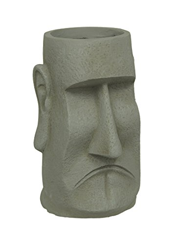 Cement Planters Easter Island Moai Style Clay Planter 15 1/4 Inches Tall 10.5 X 15.25 X 9 Inches Gray Island Planter