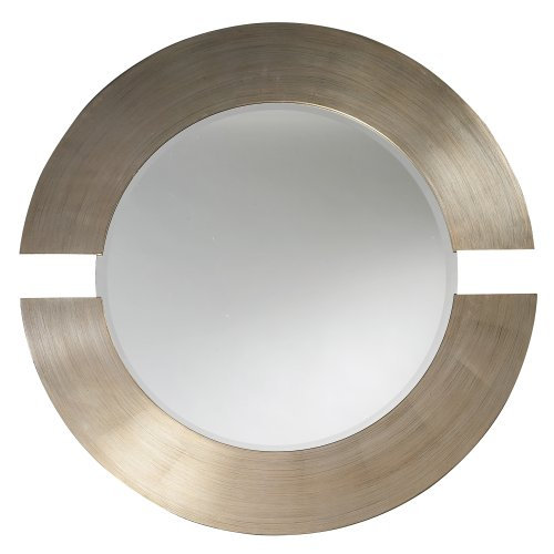 Howard Elliott Hanging Beveled Round Orbit Wall Mirror, Brushed Silver Leaf, 38 Inch